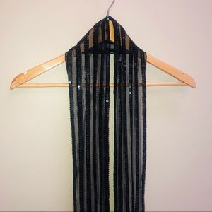 Accessories - Sequin , mesh,  long and thin black scarf wrap